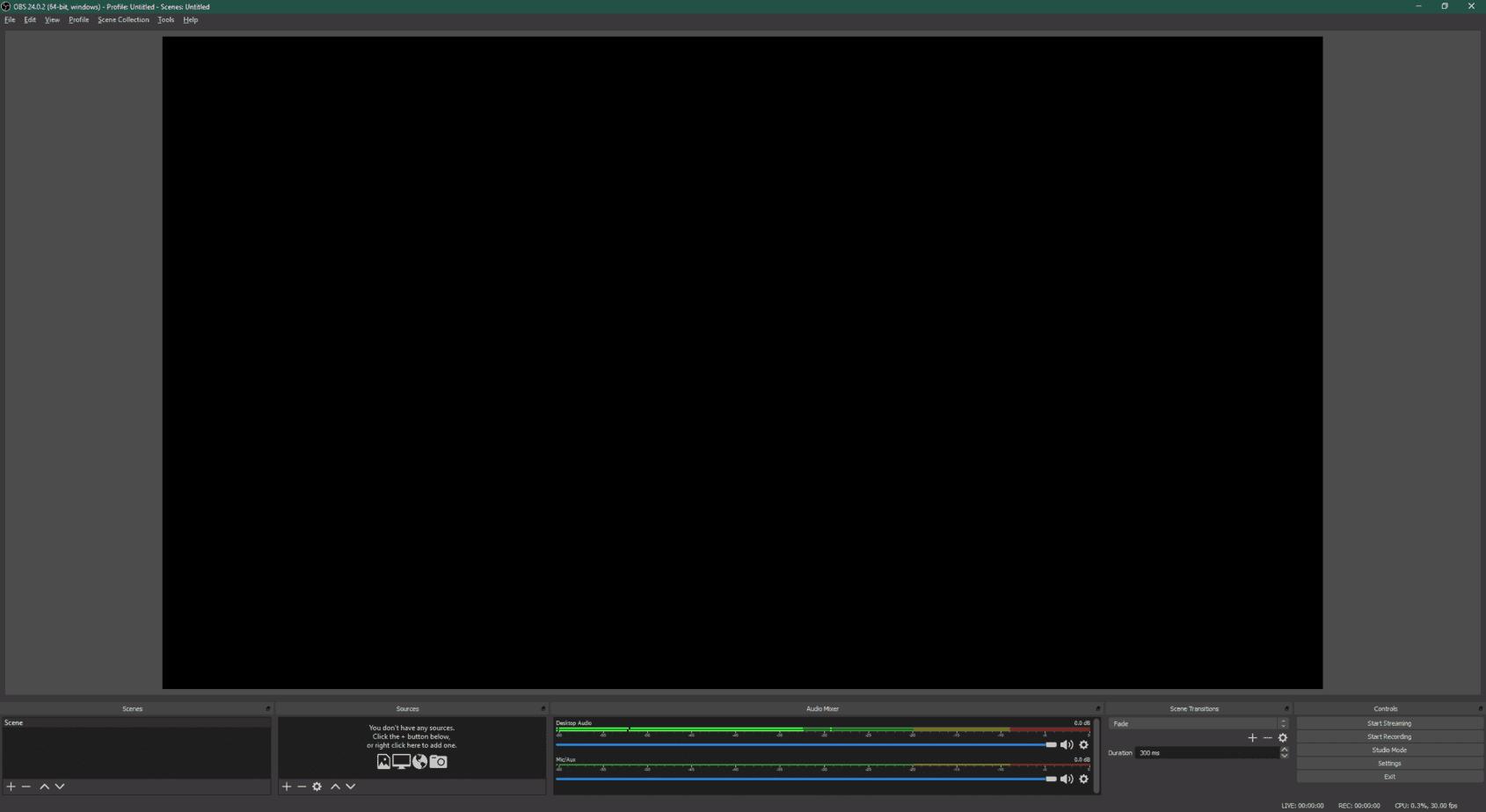 obs studio main screen