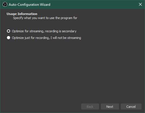 OBS Studio Auto-Configuration Wizard Step 1