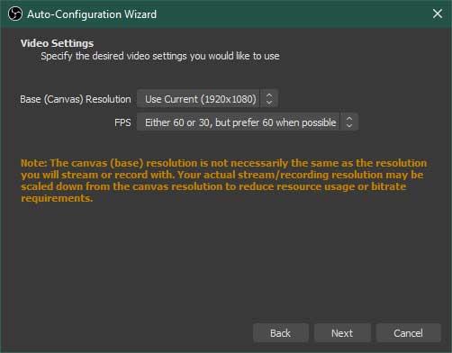 OBS Studio Auto-Configuration Wizard Step 2