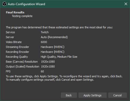 OBS Studio Auto-Configuration Wizard Step 6
