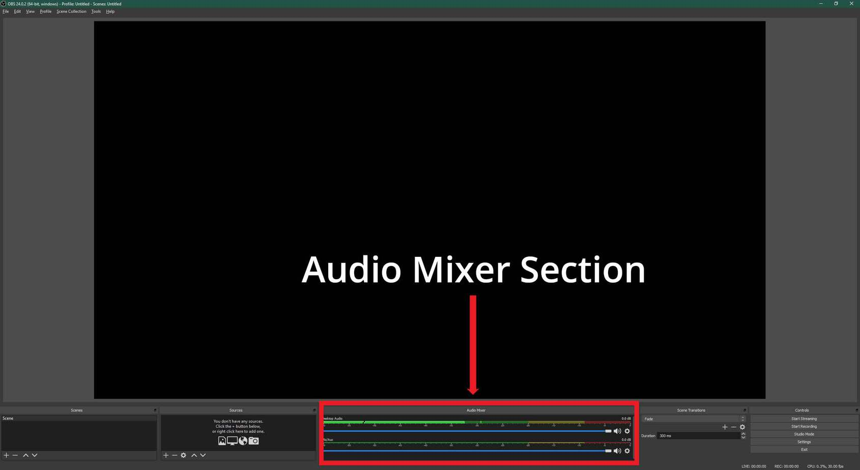 OBS Audio Mixer Section
