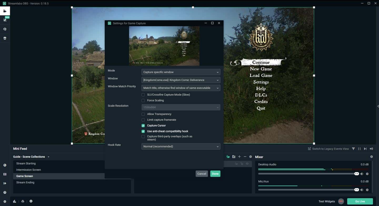 Streamlabs OBS Game Source Capture Specific Window