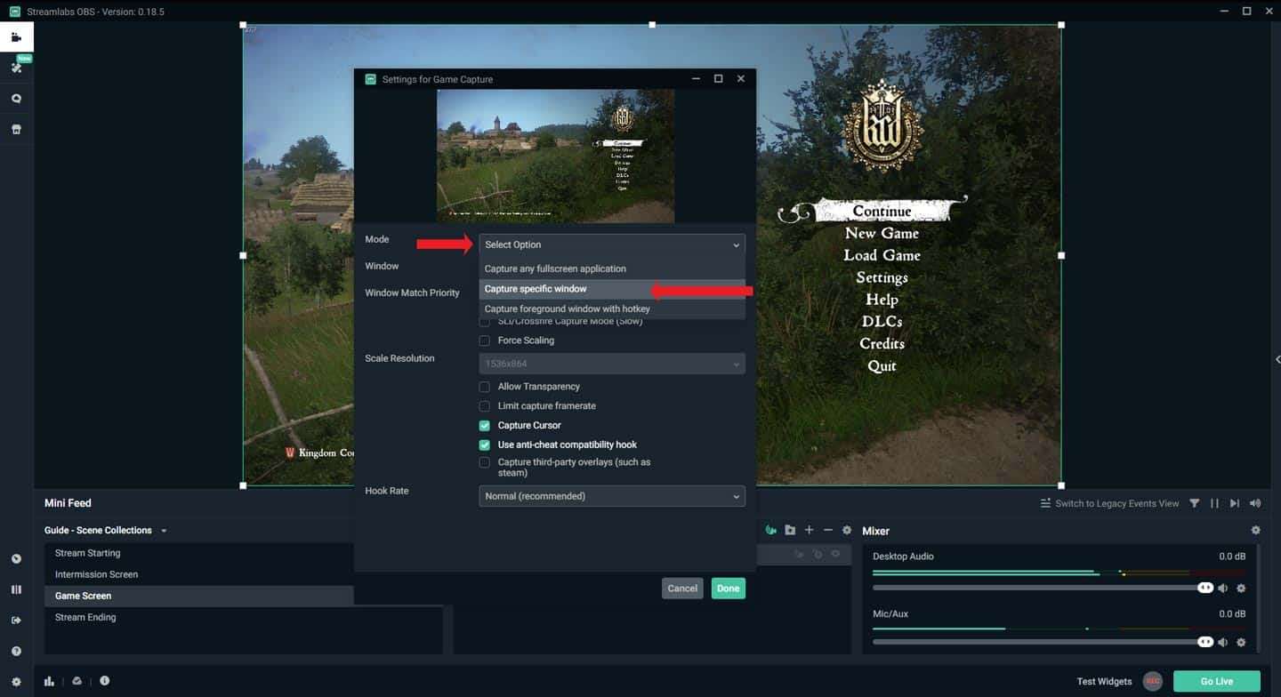 Streamlabs OBS Game Source Capture Specific Window Selection