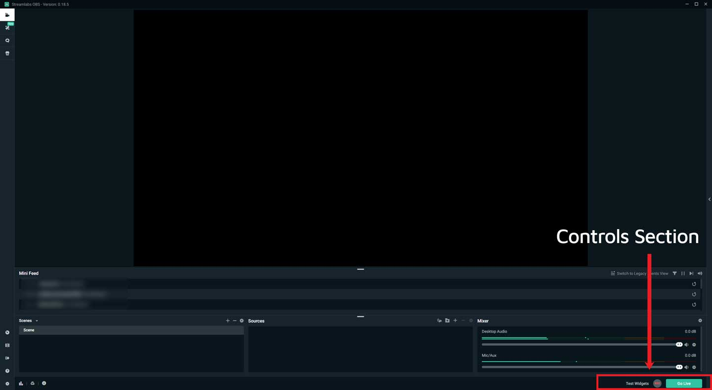Streamlabs OBS Control Section