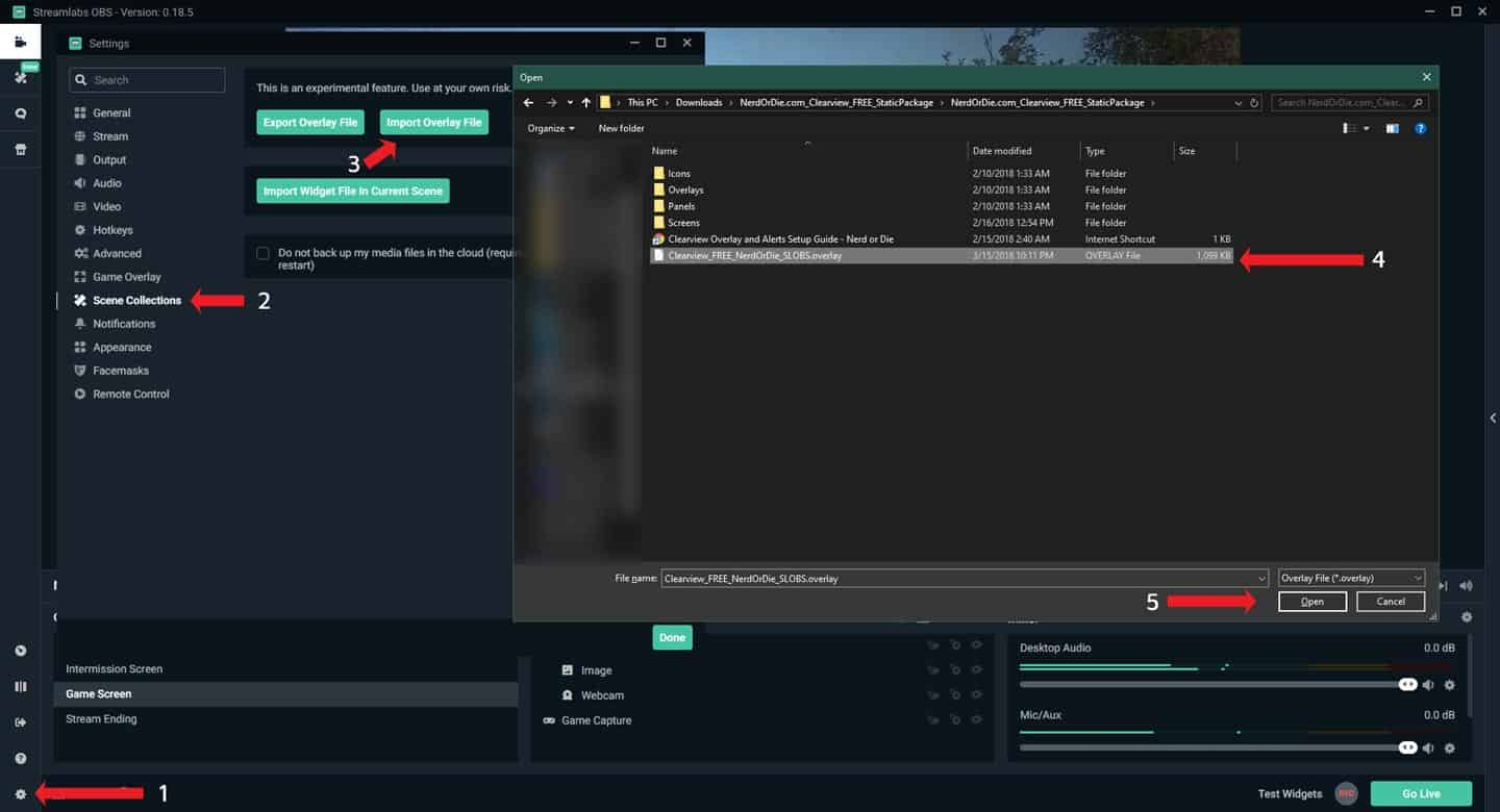 Streamlabs OBS Import Overlay