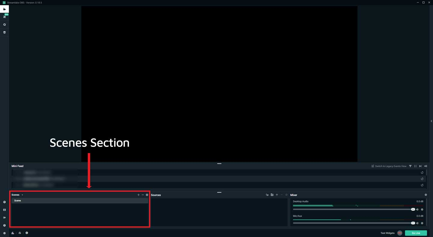 Streamlabs OBS Scenes Section