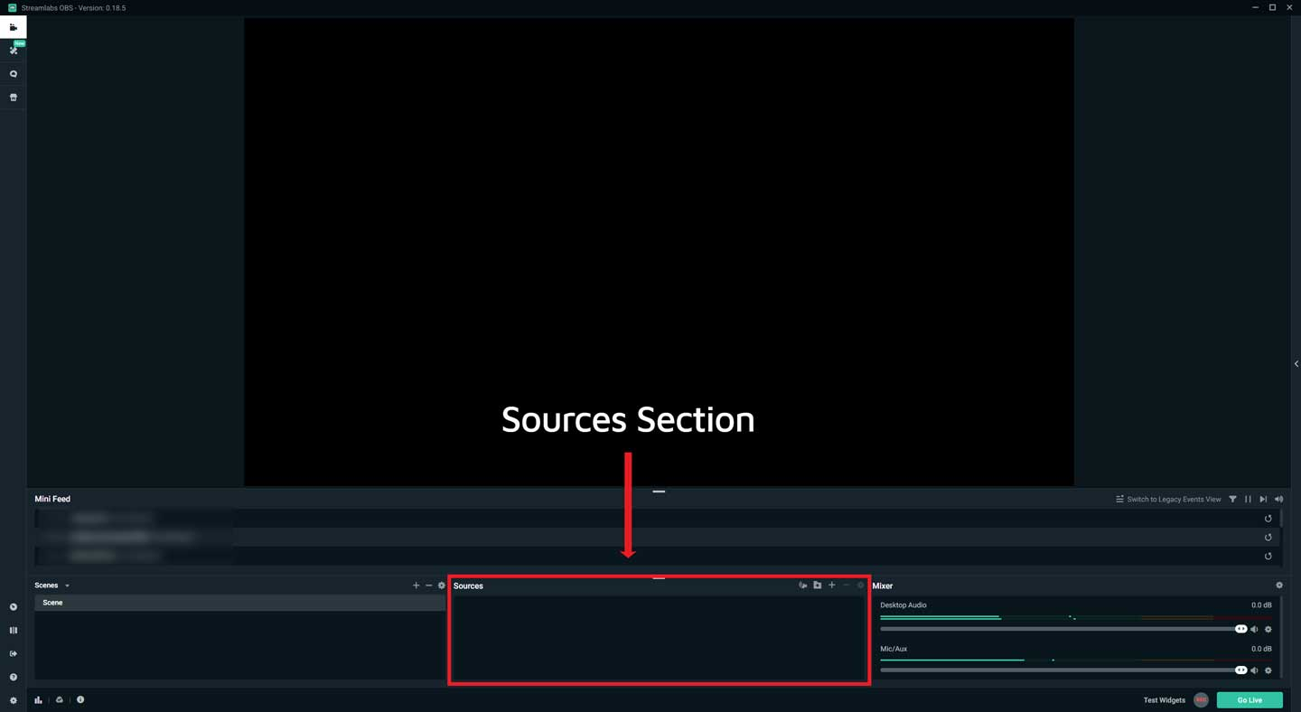 Streamlabs OBS Sources Section