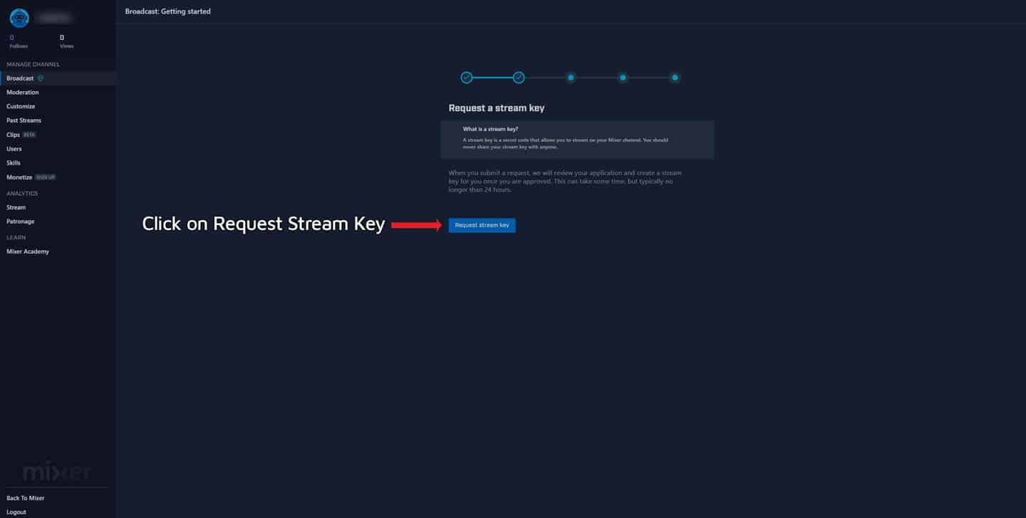 How To Find Your Mixer Stream Key Step 2