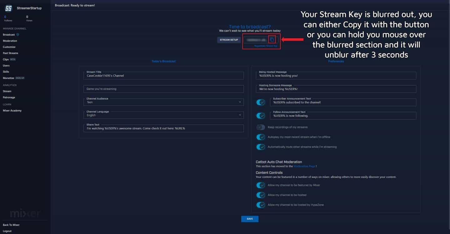 How To Find Your Mixer Stream Key Step 6-1