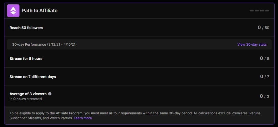 How To Get Affiliate Status On Twitch