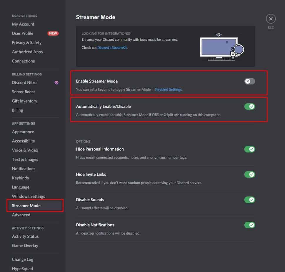 Discords Streamer Mode Settings